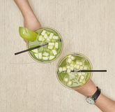 Two glasses of apple martini Stock Photography