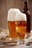 Two glasses of beer Stock Photos