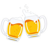 Two glasses of beer vector. Illustration of two glasses with foamy beer isolated on white background + vector eps file Royalty Free Stock Image