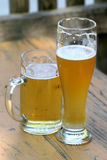 Two glasses of beer. Helles and weiss german beer Stock Photo