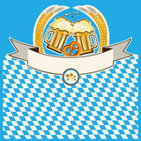 Two glasses of beer on Bavaria flag background Royalty Free Stock Photos