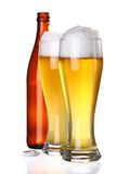Two glasses of beer and bottle Stock Images