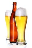 Two glasses of beer and bottle Royalty Free Stock Images