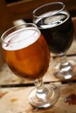 Two glasses of beer in a crate Royalty Free Stock Photo