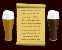 Two glasses of beer and old tissue paper (scroll) with an inscription. Vector illustration Royalty Free Stock Photo