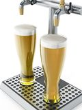 Two glasses of beer under alcoholic beverage taps. 3D illustration Royalty Free Stock Photo