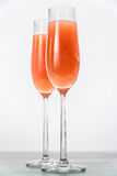 Two glasses of bellini cocktail Stock Image