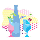 Two glasses of blue cocktail, a bottle of wine. Ornamental, flat illustration Stock Images