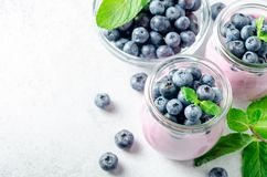 Blueberry yogurt with blueberries and mint. Two glasses of blueberry yogurt with blueberries on a light stone background. High angle view, horizontal image, copy Stock Photography