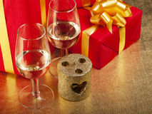 Two glasses and box with gifts Royalty Free Stock Photography