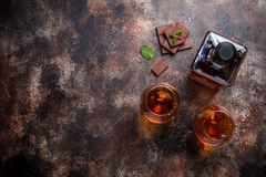 Two glasses of brandy or cognac Stock Photo