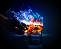 Two glasses of burning absinthe Royalty Free Stock Photo