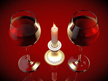Two glasses and  candle Royalty Free Stock Images