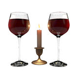 Two glasses and  candle Royalty Free Stock Photo