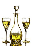 Two glasses and Carafe with white wine Stock Photos