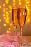 Two glasses of champagne. With a festive decor in the St. Valentine's Day Stock Image