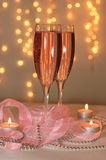 Two glasses of champagne. With a festive decor in the St. Valentine's Day Stock Photos