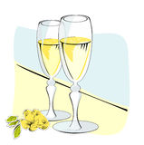 Two glasses of champagne. With flowers Stock Photos