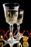 Two Glasses of champagne. With ribbons royalty free stock images