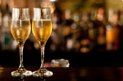 Two Glasses of champagne. Waiting to be served by guests Stock Photography
