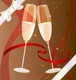 Two glasses of champagne. On a brown background with scarlet ribbons, abstract patterns and decorative white bow two celebratory glass of champagne Stock Images
