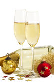 Two glasses of champagne with angels hair, red and Royalty Free Stock Photos