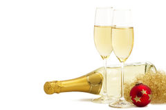 Two glasses of champagne with angels hair, red chr Stock Photo