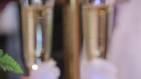 Two glasses with champagne. Beautiful  two glasses with champagne stock footage