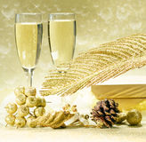 Two glasses of champagne on the blurred background. Stock Image
