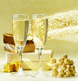 Two glasses of champagne on the blurred background. Royalty Free Stock Photography