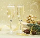 Two glasses of champagne on the blurred background. Stock Photo