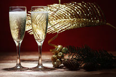 Two glasses of champagne on the blurred background. Royalty Free Stock Image