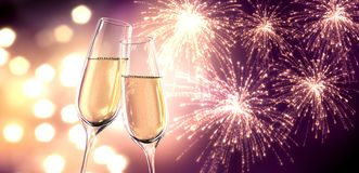 Two glasses of champagne with blurry lights stock illustration