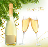 Two glasses of champagne with bottle. Stock Images