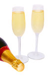 Two glasses of champagne with bottle Royalty Free Stock Image