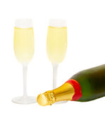 Two glasses of champagne with bottle Stock Photo