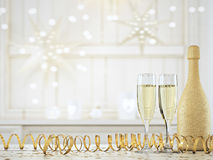 Two glasses with champagne and bottle. 3d rendering Stock Photo