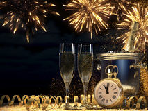 Two glasses with champagne and bottle. 3d rendering. Two glasses with champagne and bottle. new years eve concept. 3d rendering Stock Photography