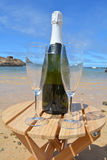 Two Glasses Of Champagne And Bottle In Paradise Island Royalty Free Stock Image