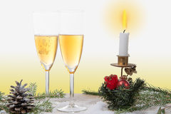 Two glasses of champagne with Christmas decor Royalty Free Stock Photography