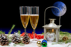 Two glasses of champagne in a christmas decor Stock Images