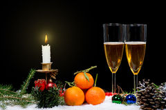 Two glasses of champagne with christmas decor Royalty Free Stock Image
