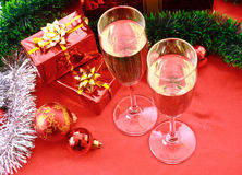 Two glasses of champagne and Christmas decoration Royalty Free Stock Image