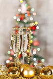 Two glasses of champagne and Christmas tree Stock Photo