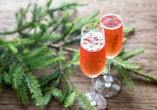 Two glasses of champagne with Christmas tree branch Royalty Free Stock Images