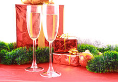 Two glasses of champagne and decoration Royalty Free Stock Images