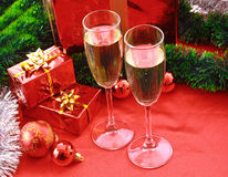 Two glasses of champagne and decorations Stock Photos