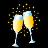 Two glasses. With champagne and fireworks Stock Images