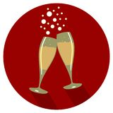 Two glasses of champagne  eps 10. Two glasses of champagne flat design  icon New Year eps 10 Royalty Free Stock Image