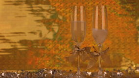Two glasses with champagne. Footage stock video